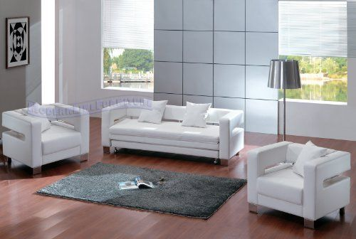 Modern White Leather Sofa Sleeper With Two Chairs Set By Modern Line Furniture 1395 95 Med Bilder