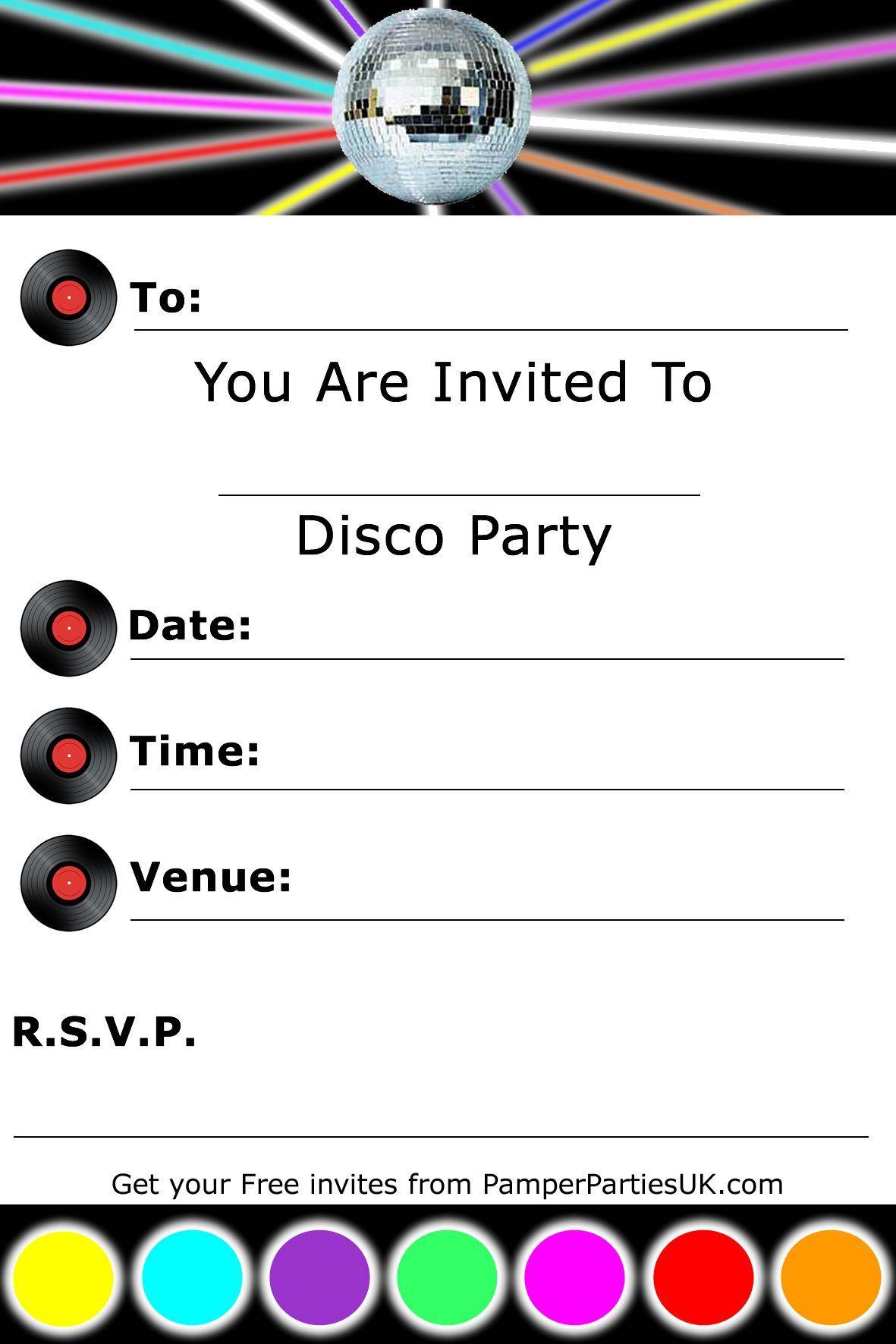 Birthday Party Invitation Template Word Kinderfeestje Kinderfeestjes Disco Feest