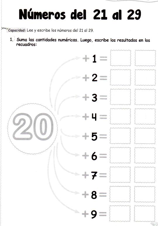 Números del 21 al 29: 5 años - Material de AprendizajeMaterial de ...