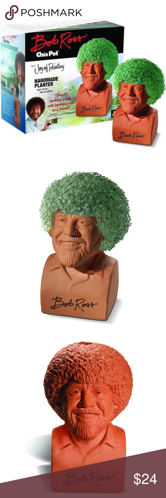 Bob Ross Chia Pet Joy Of Painting New By Neca Now You Can Enjoy The Gentle Artist With The Soft Hypnotic Voice As You Gr Chia Pet Handmade Planter Bob Ross