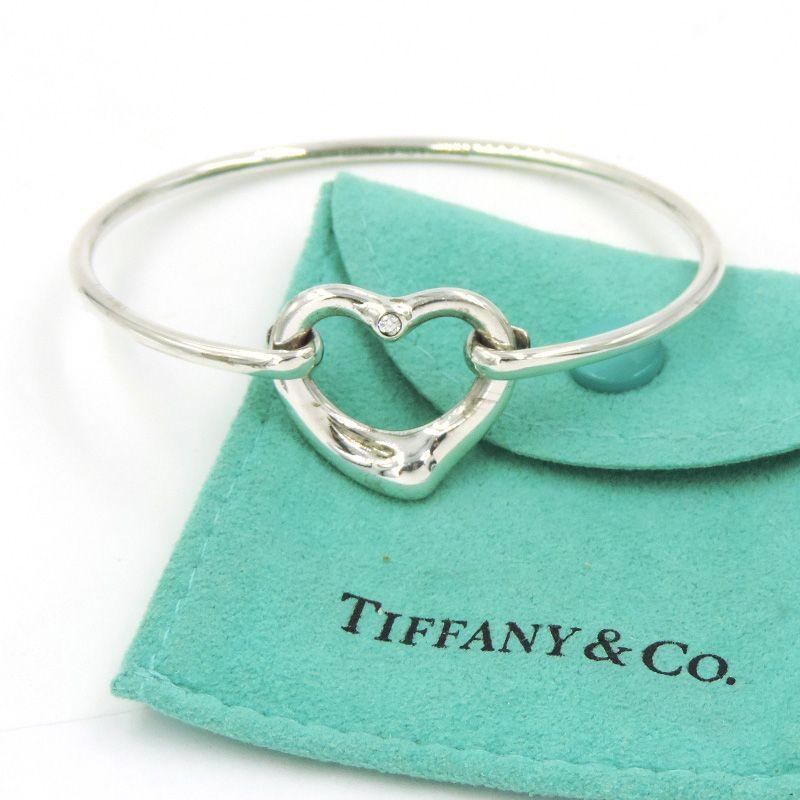 TIFFANY ELSA PERETTA OPEN HEART DIAMOND BANGLE BRACELET