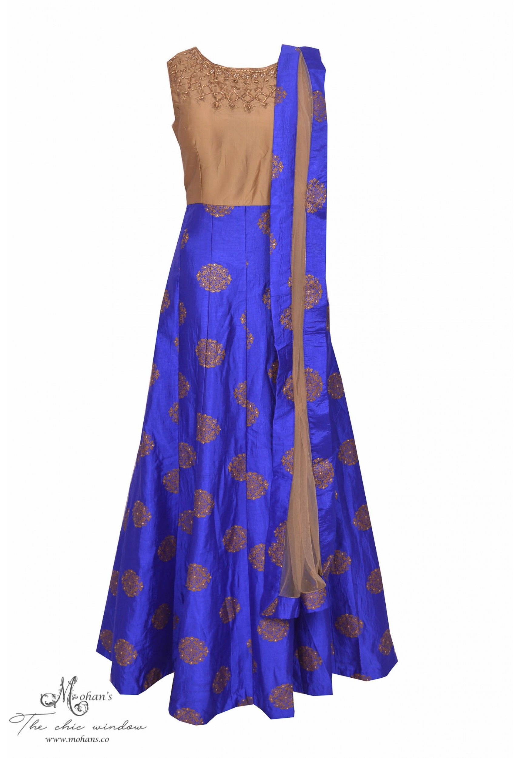 Pretty royal blue and mouse brown frock suit with elegant embroidery on neckline