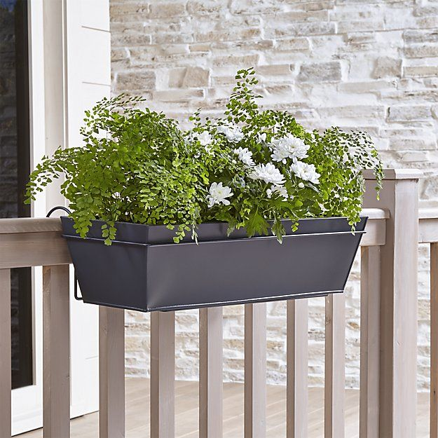1000 Images About Garden Containers Deck Railing On: Zinc Rectangular Rail Planter And Rail Planter Hook
