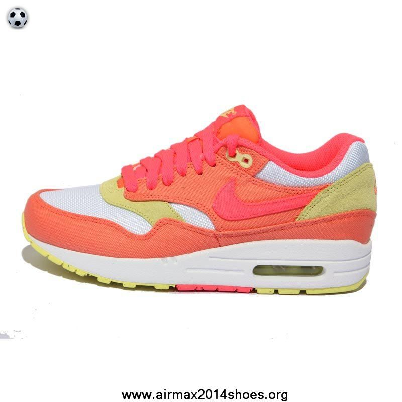 best sneakers bc68b eac2d Authentic Nike Air Max 1 Melon Crush Hot Punch White Yellow Diamond Shoes  319986-801 Womens For Sale