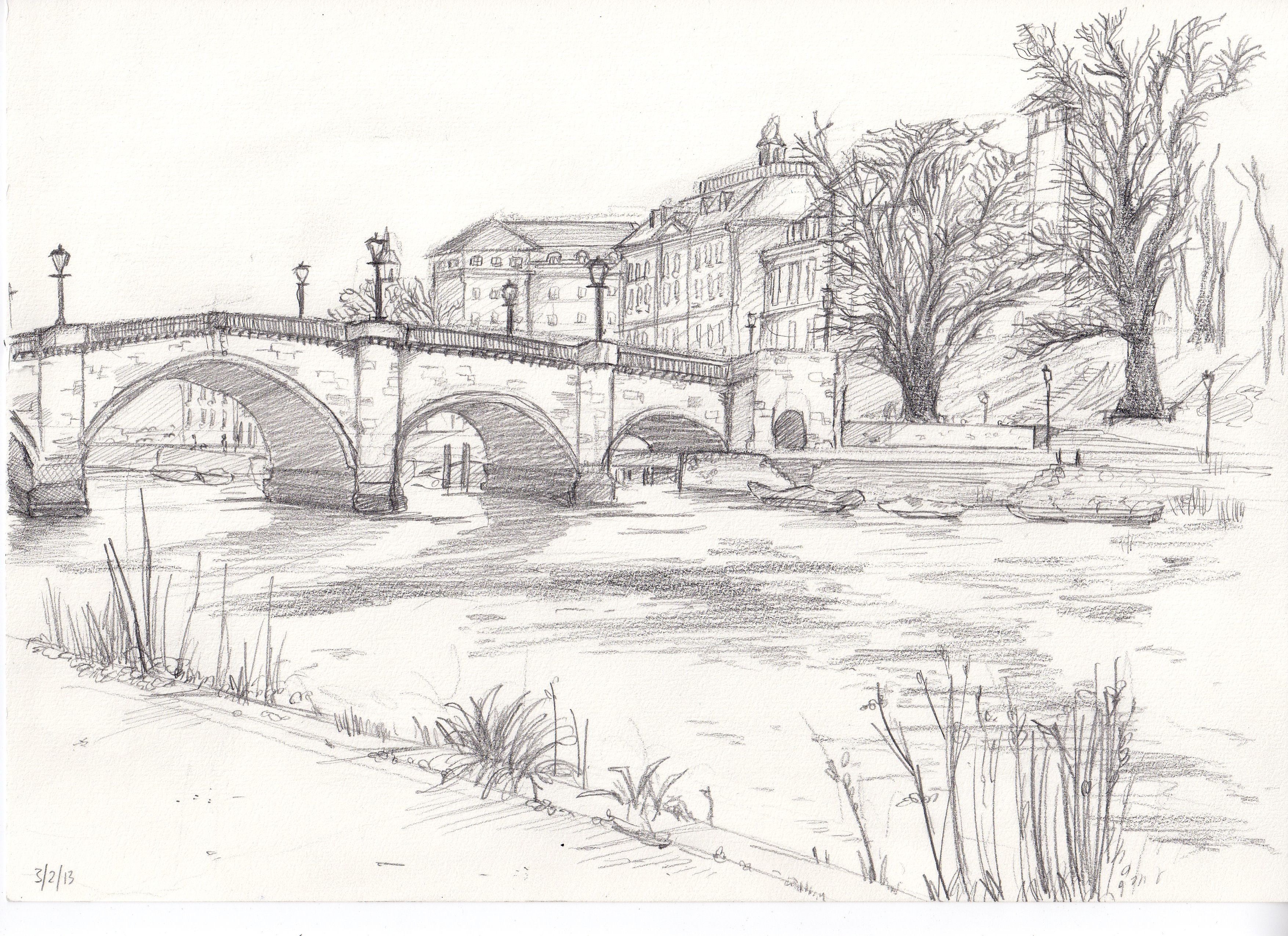 Landscapes to draw richmond bridge drawing from life