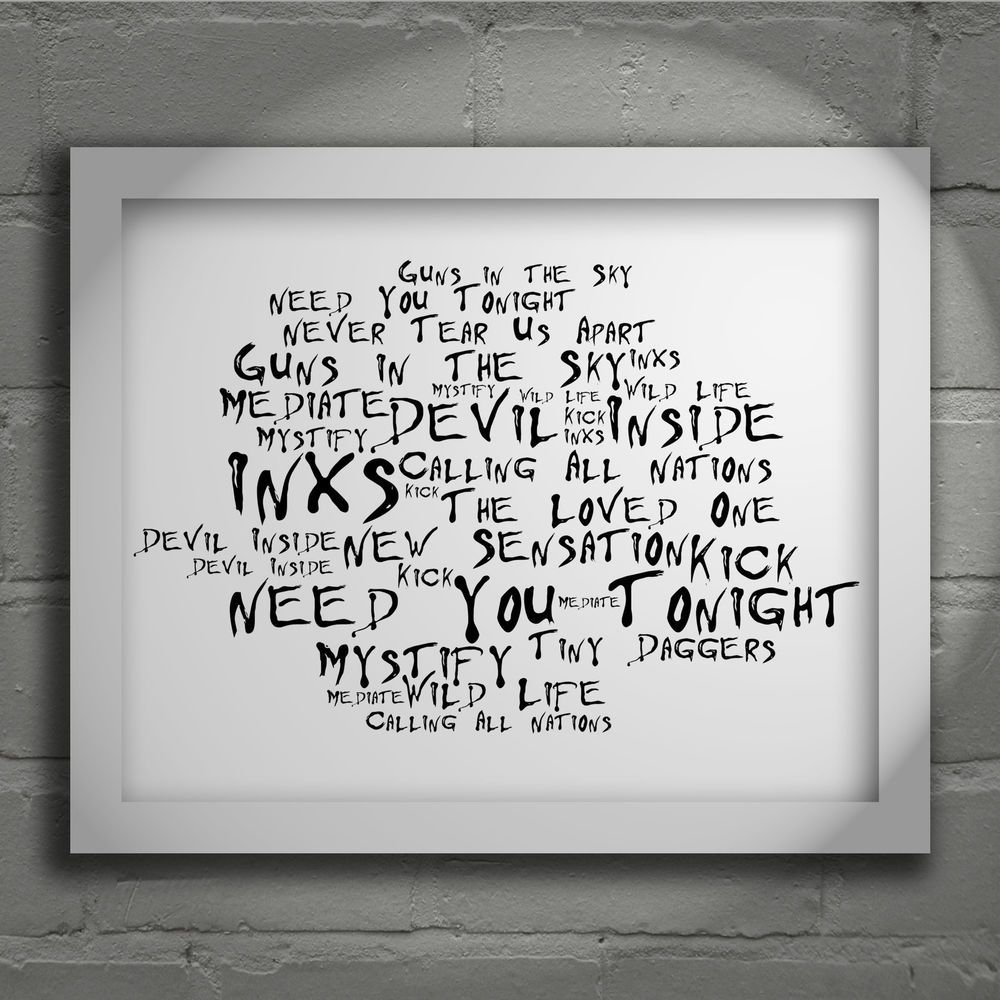 Details about INXS Poster Print Kick Lyrics Gift