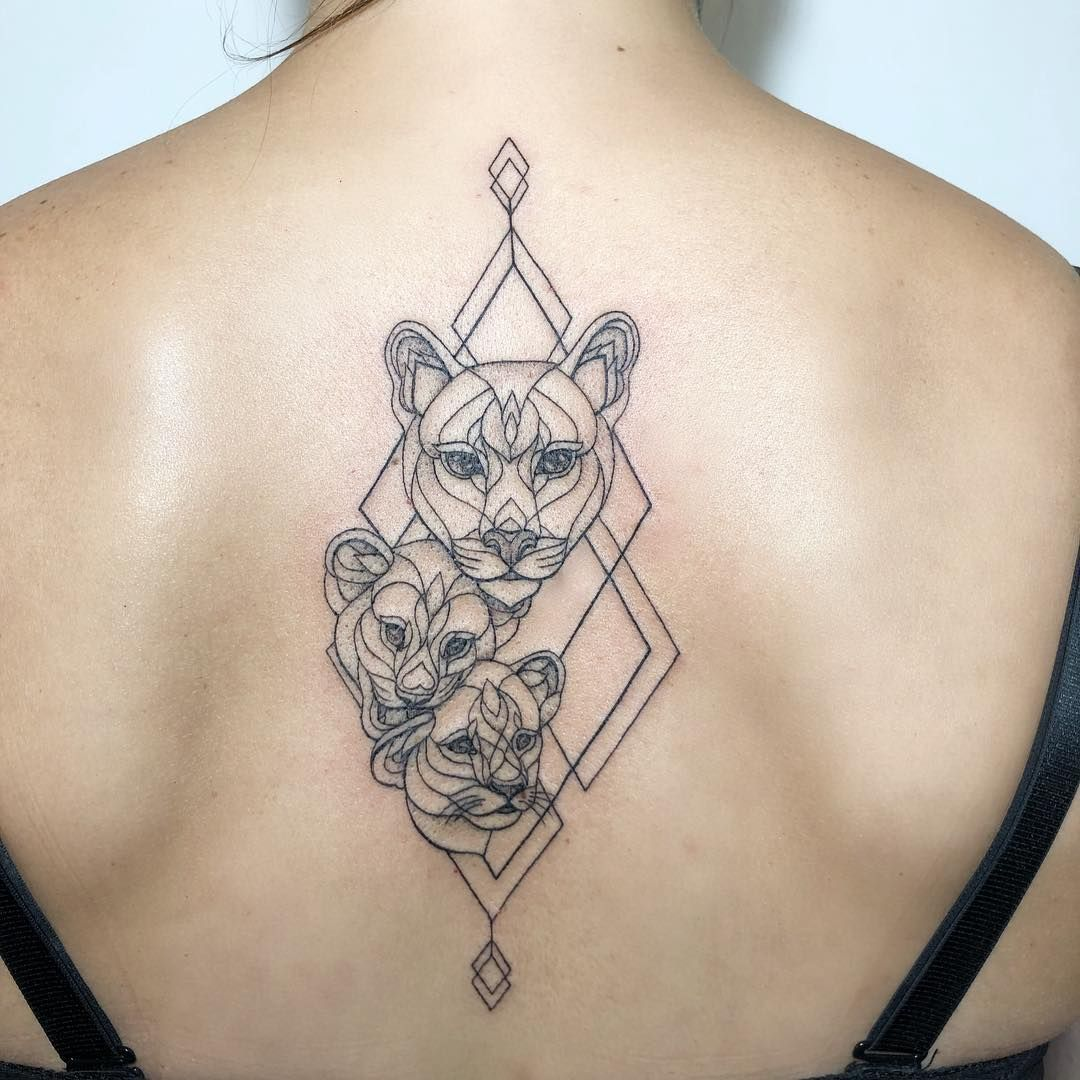 "Ira Shmarinova on Instagram: ""#irainkers #tattoo #geometry #animaltattoo #cattattoo"