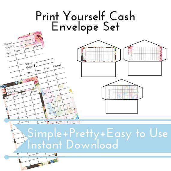 Cash Budget Envelope Set, Instant Download + Easy to Print, Cash