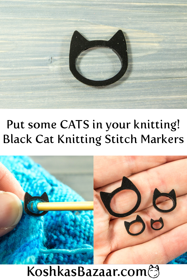 Silhouettes Cat Stitch Markers Set of knitting markers for your project bag