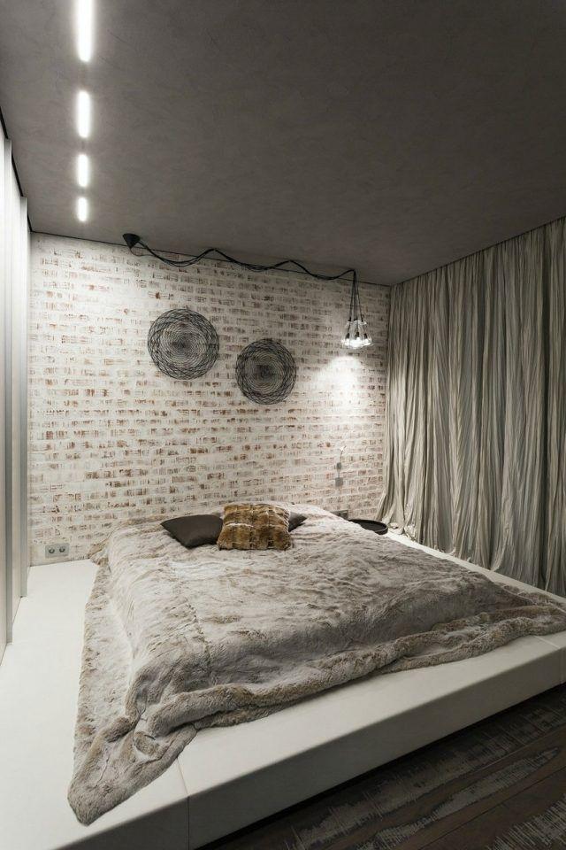 Schlafzimmer Modern Gestalten Graue Decke Weiß Verputzte Ziegelwand