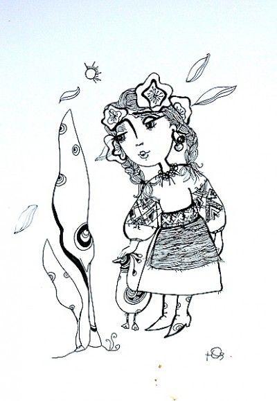 Ukrainian Girl, drawing by Julia Kosivchuk