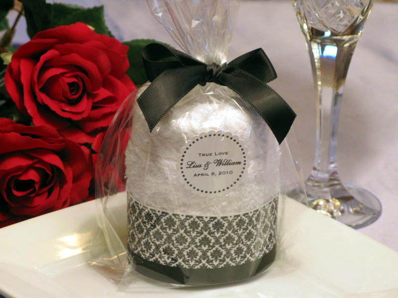 Damask Wedding Towel Cake Favors