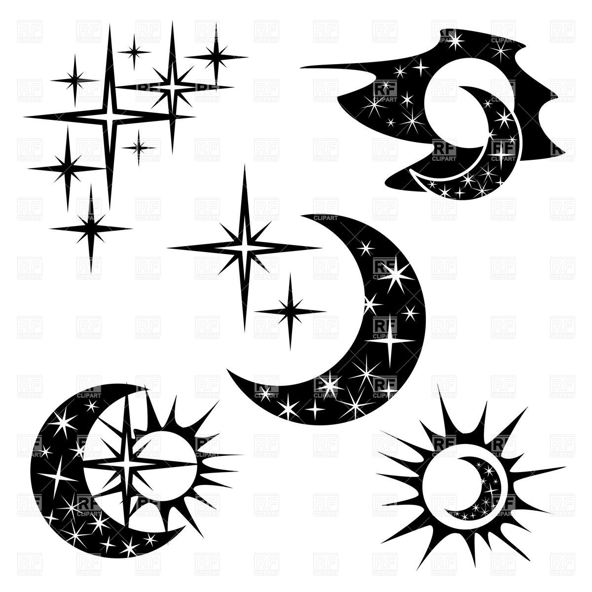 Suns and halfmoon collection, Icons and Emblems, Moon