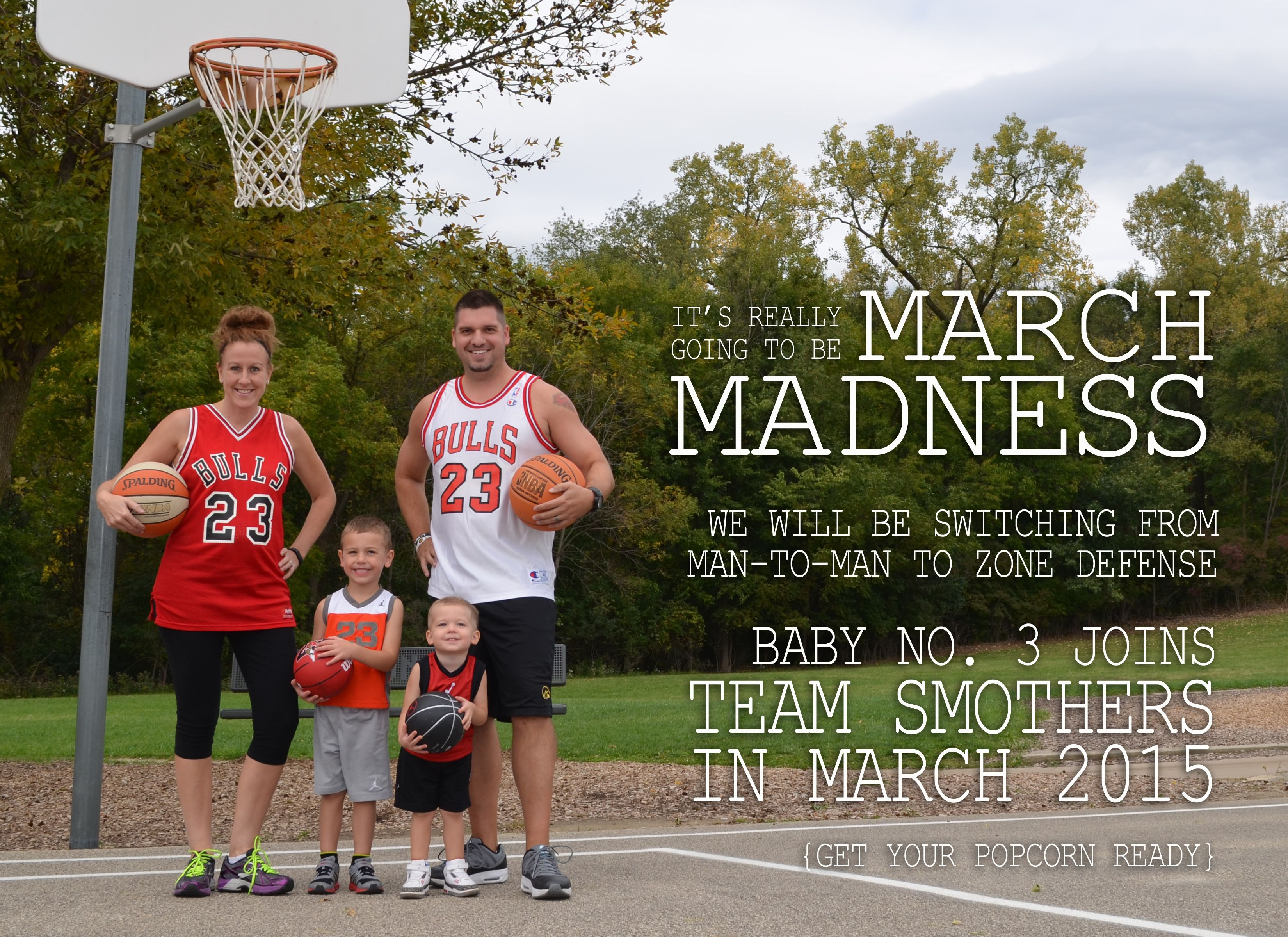 Basketballthemed baby announcement for our third child