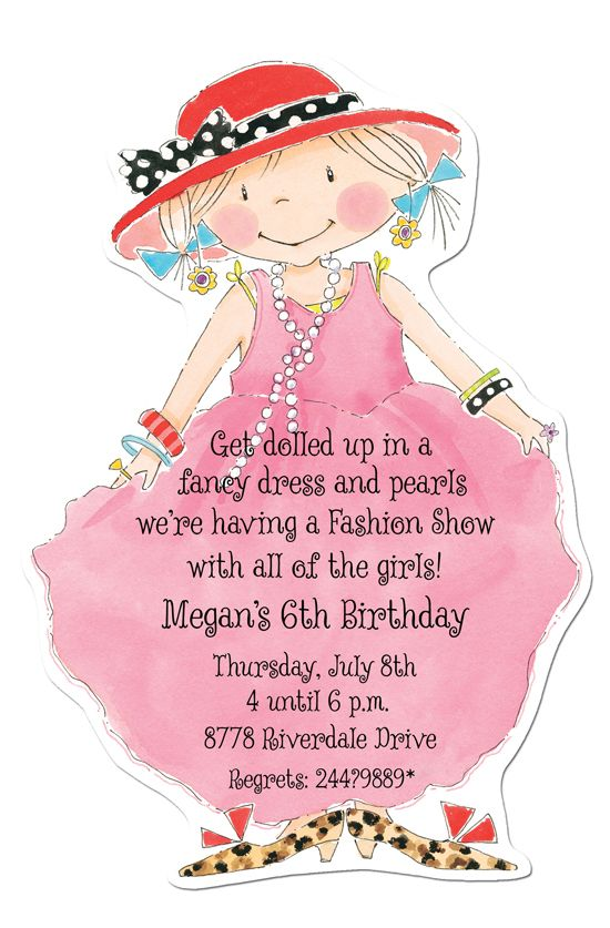 Dress Up Die-cut Invitation from Picture Perfect Girl\'s Birthday ...