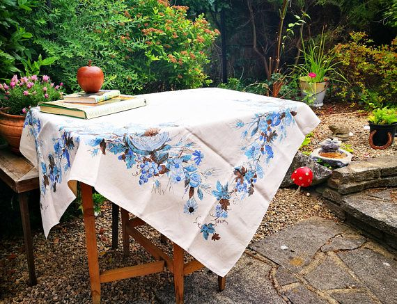 Mid Century Modern Tablecloth Designer Luther Travis Linens Table Cloth Large Rectangle Tablecloth Blue Flowers Leaves Fruit Design Modern Tablecloths Etsy Vintage Room Themes