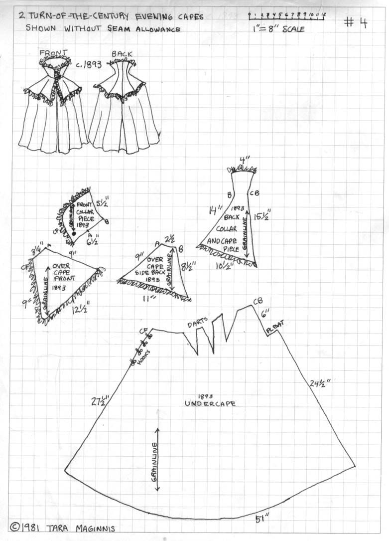 cape (2 Turn of the Century Evening Coats, patterns by