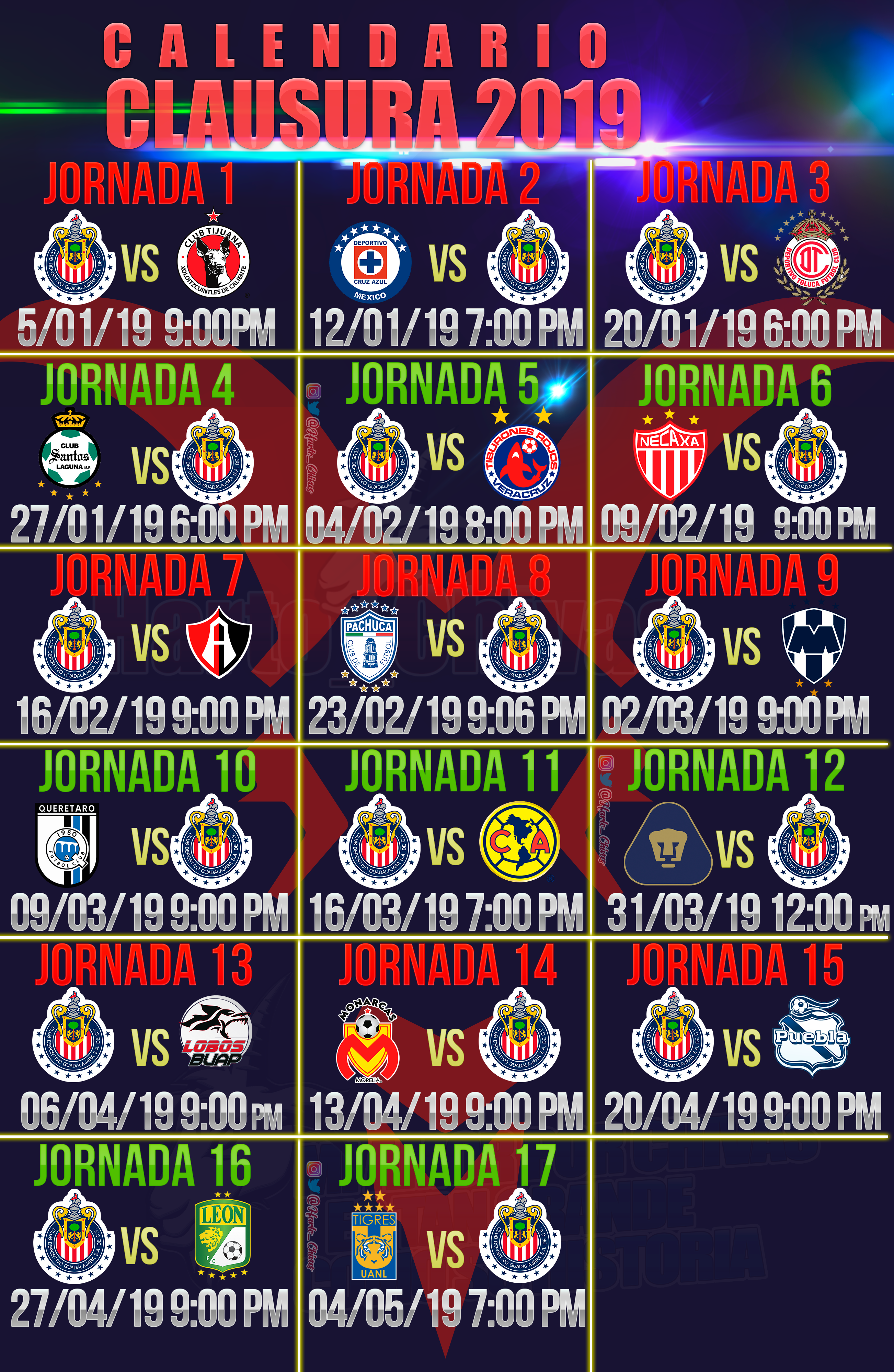 Calendario 2019 Ucl.Calendario Chivas Clausura 2019 Jersey 2018 2019 Chivas