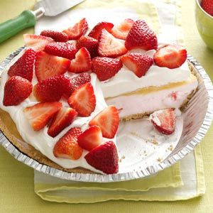 Lemon-Berry Ice Cream Pie Recipe -A great make-ahead dessert for warm weather using homemade lemon curd, strawberries, whipped topping and a purchased crumb crust. — Roxanne Chan, Albany, California