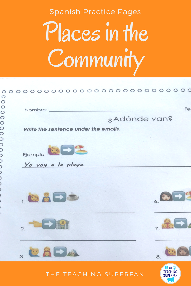 Spanish Places In The Community Lugares En La Comunidad Conjugation Worksheets For The Verb Ir B Spanish Teaching Resources Practices Worksheets Word Boxes [ 1102 x 735 Pixel ]