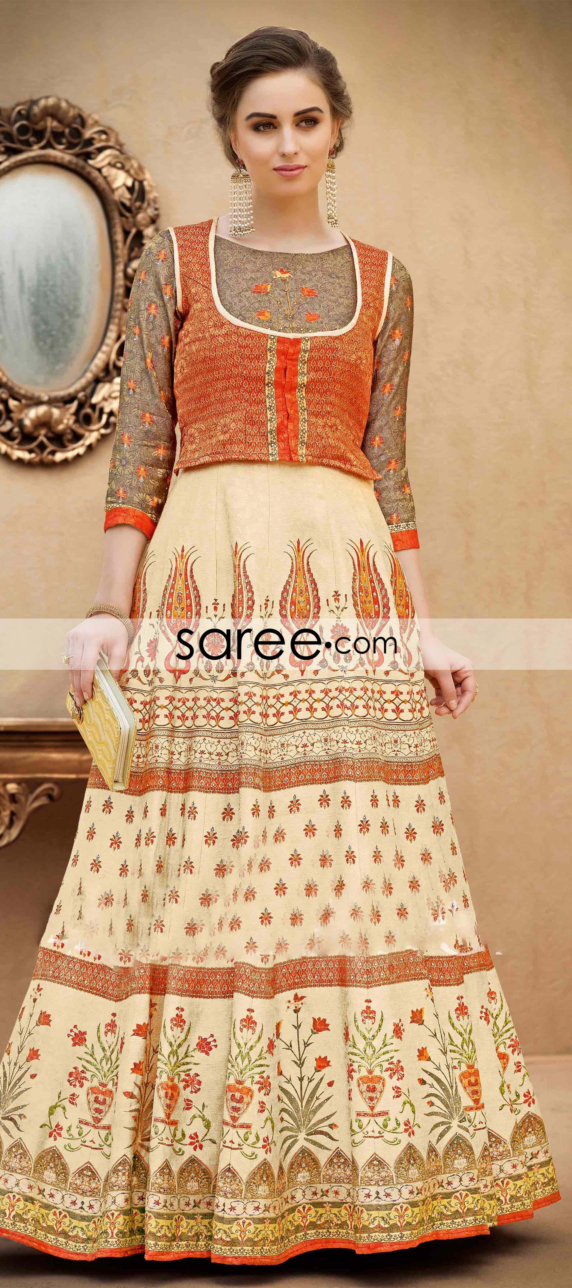 6c3d5287729ac Brown and Cream Banarasi Art Silk Gown With Digital Print