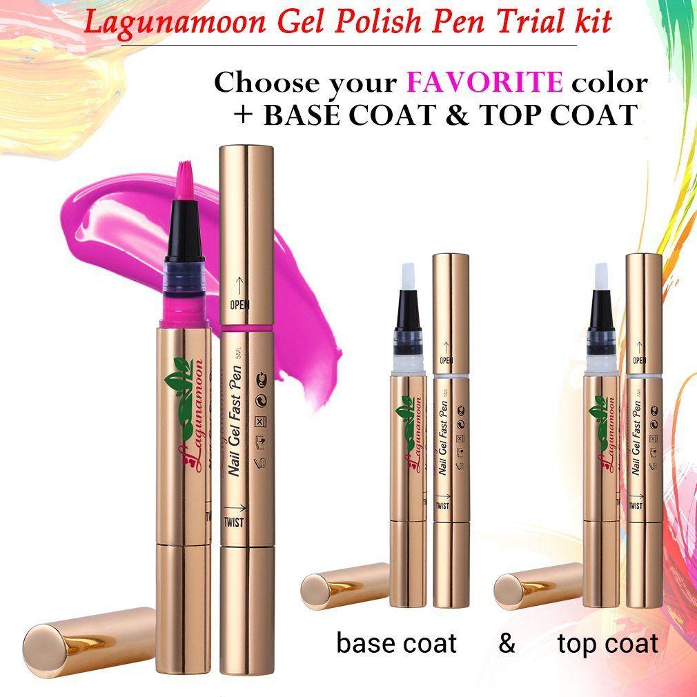 Lagunamoon TO-GO Gel Nail Polish Pen trail kit,Soak Off UV LED Color ...