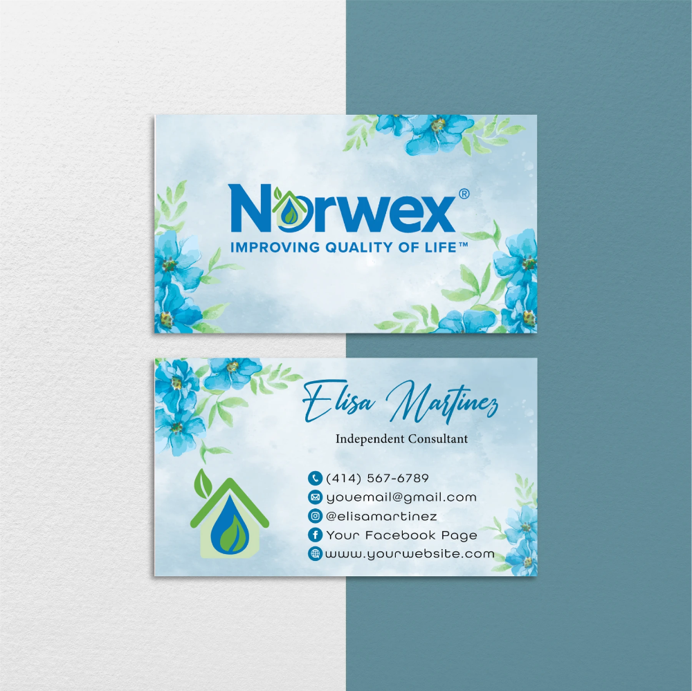 Norwex Business Cards Floral Personalized Norwex Template Cards Nr39 Cleaning Business Cards Personal Business Cards Custom Business Cards