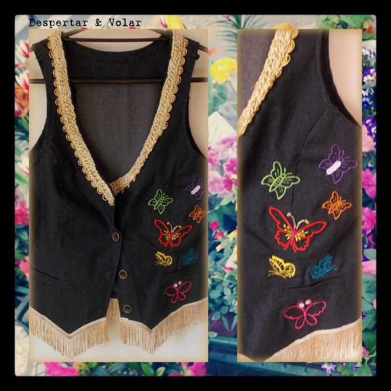 Chaleco de jean con mariposas bordadas en hilos detalles for Disenos de chalecos
