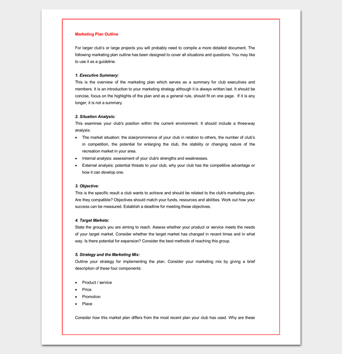 marketing plan outline for word outline templates create a