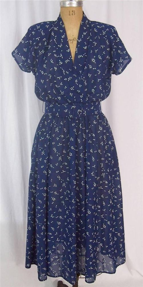 vtg 80s Does 50s MISS OOPS Navy Full Sheer Tea Swing Dress Secretary Lolita M #MissOopsCalifornia