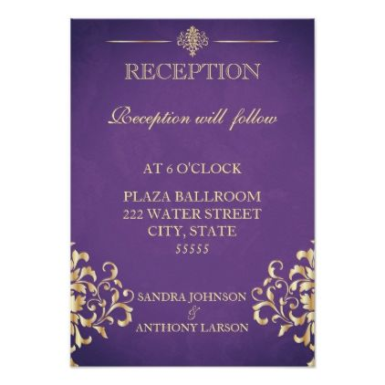 Elegant gold purple wedding reception card elegant gold purple wedding reception card wedding invitations cards custom invitation card design marriage stopboris Image collections