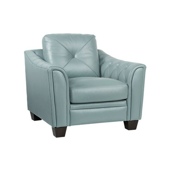 Cindy Crawford Home Marcella Spa Blue Leather Chair 700