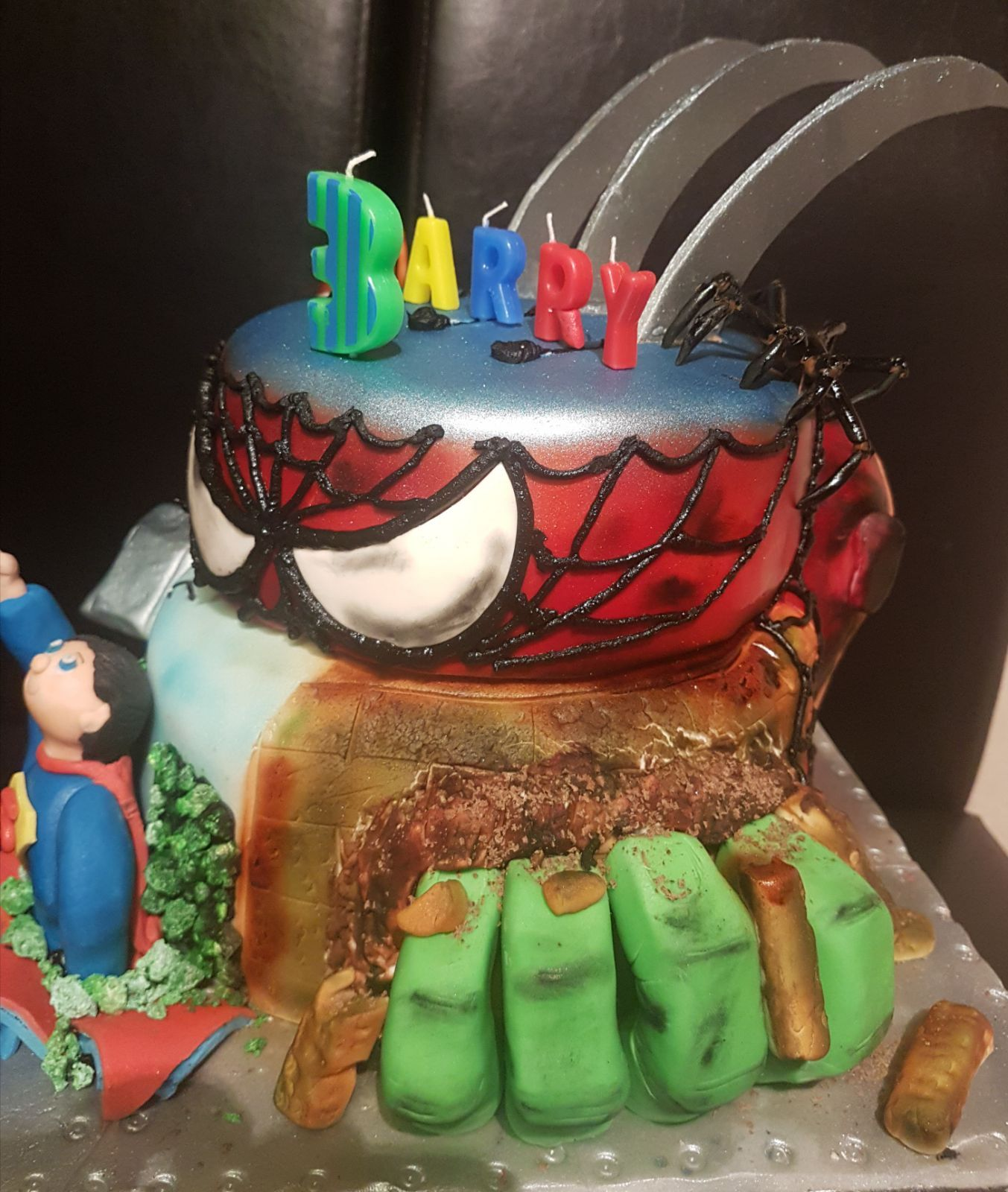 Marvel Heroes Birthday Cake Spiderman Thor Ironman Hulk