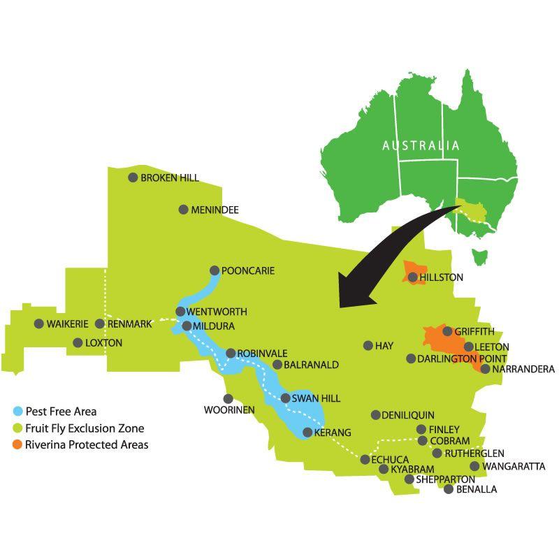 Mildura Tourism Fruit Fly Zone Map Aussie OZ Land down under