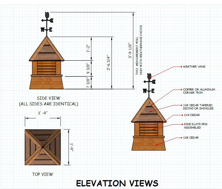 Shed cupola plans dimensions shed plans pinterest for Cupola plans pdf