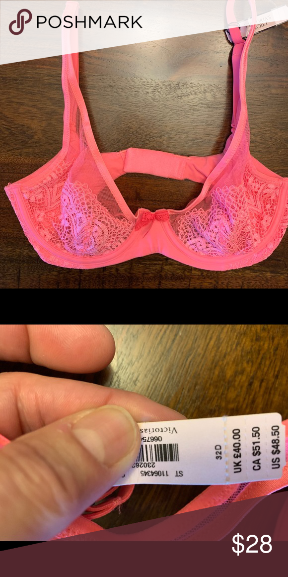 "d9bd46a2e70218 NWT Victoria s Secret Unlined Demi Bra 32D NWT Victoria s Secret ""Body by  Victoria"" Unlined Demi Bra size 32D. Beautiful bright pink color with  lovely lace ..."