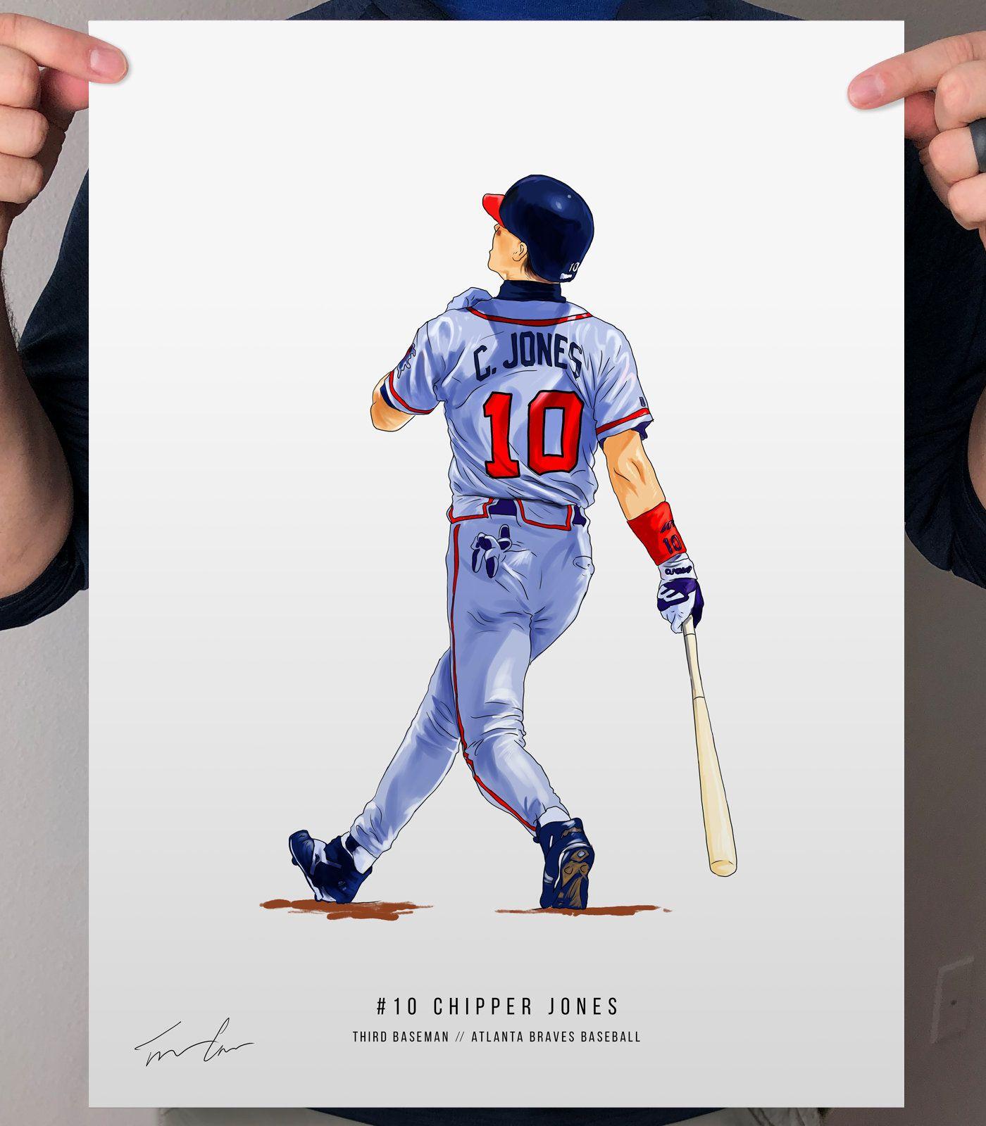 Chipper Jones Atlanta Braves Baseball Print Poster Art Etsy In 2020 Atlanta Braves Atlanta Braves Baseball Chipper Jones