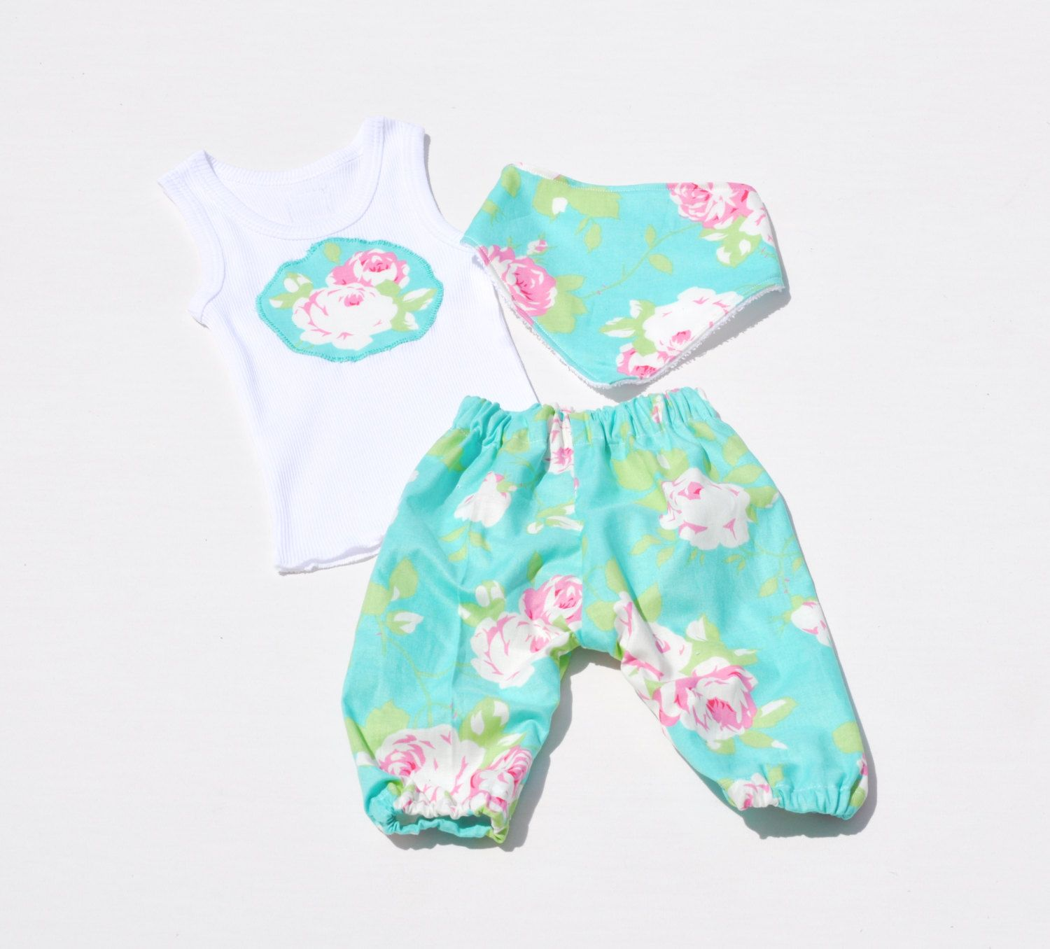 Baby girl gift set pants singlet and dribble bib blue flowers baby girl gift set pants singlet and dribble bib blue flowers baby negle