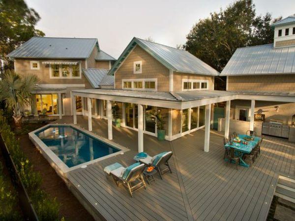 Überdachung Bauen Haus Erweiterung Pool Holzterrasse | Projekt ... Beispiel Mehrstufige Holzterrasse