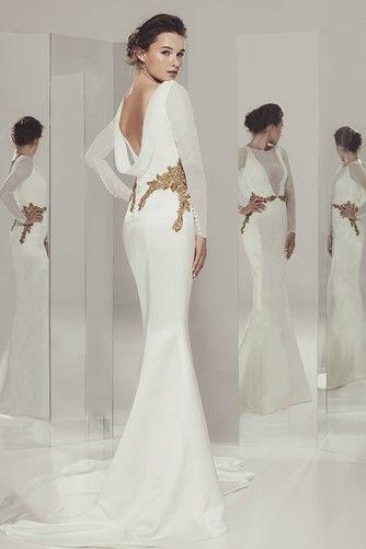 amada - ivan campaña - vestido de novia recto con manga larga