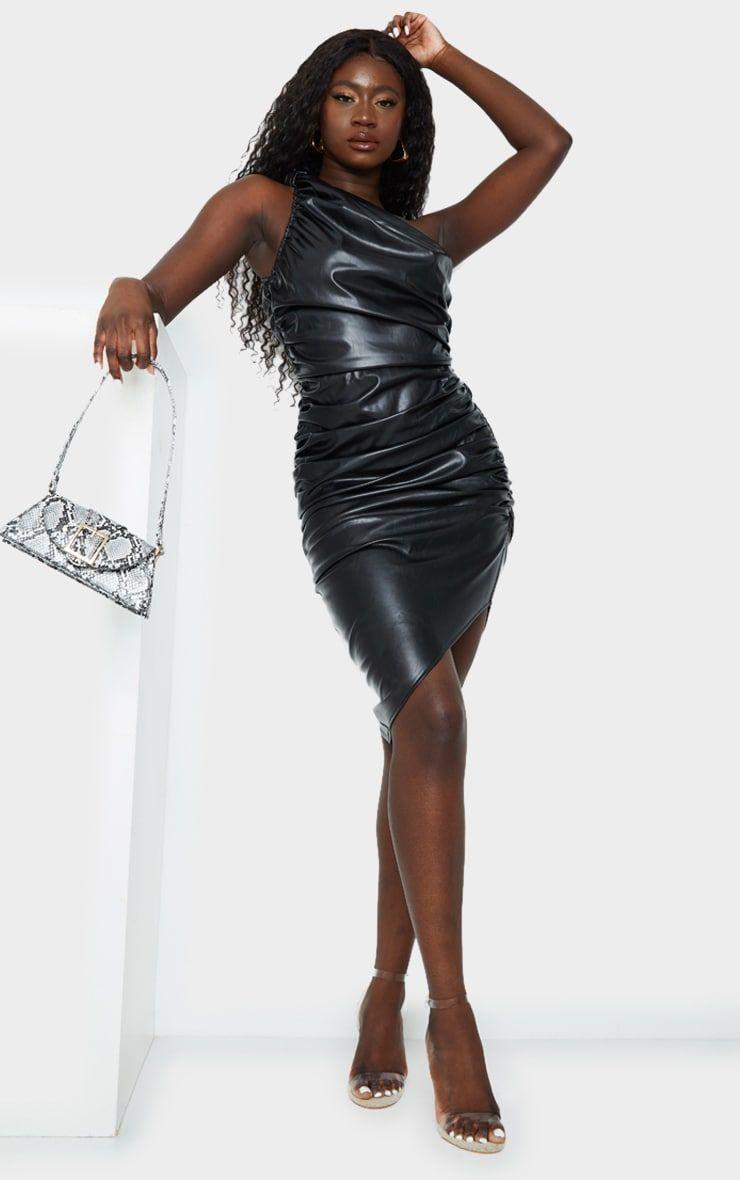Black Pu Ruched One Shoulder Bodycon Dress Bodycon Dress Bodycon Dresses [ 1180 x 740 Pixel ]