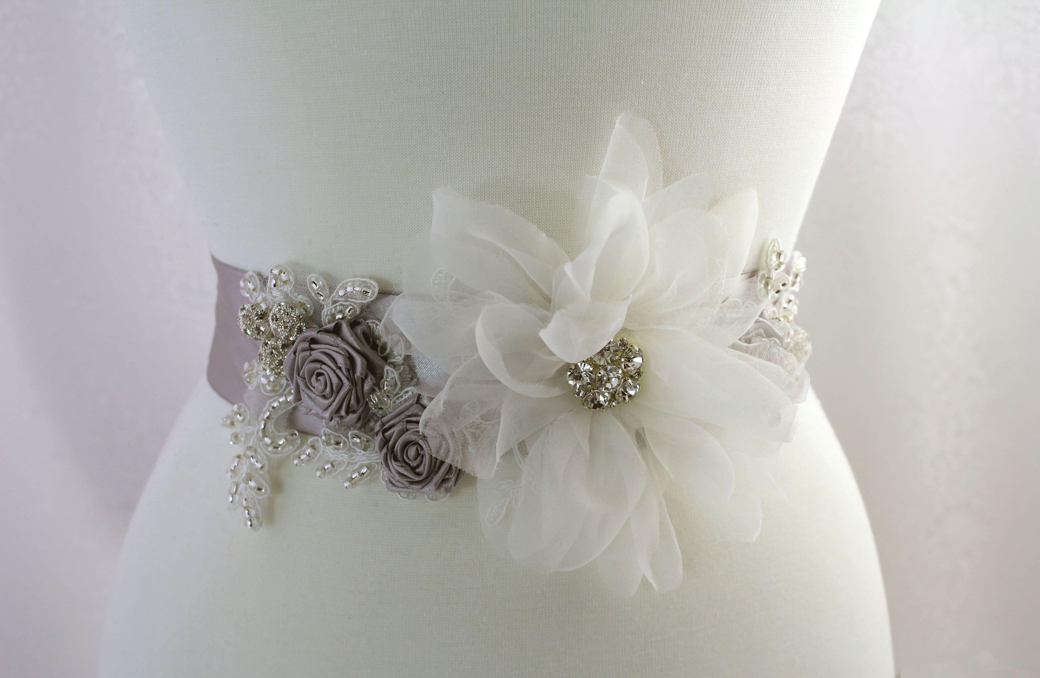Gray Sash, Pewter bridal sash rhinestone from Mitzy and Mitzy at etsy