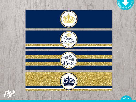 Prince Birthday Navy Blue Gold Glitter Print Yourself Water De