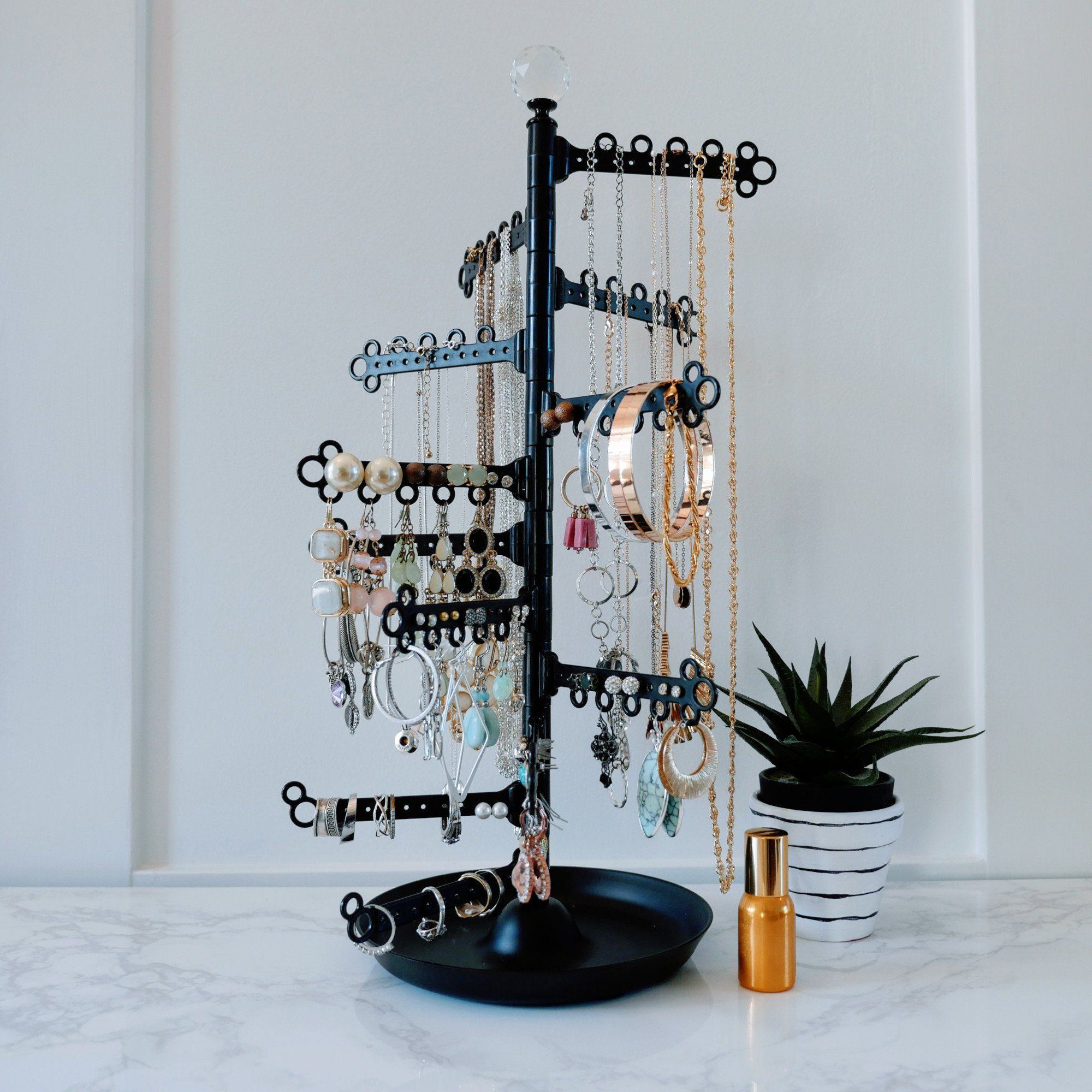 Black or White All Hung Up Tower Stand Display with Tray  Dish Jewelry Organizer