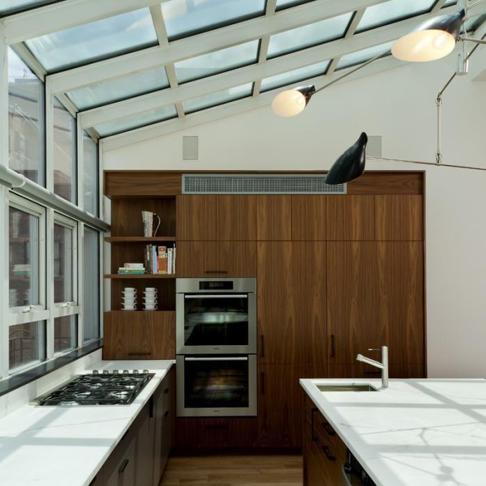 Kitchen Interior With Skylights.