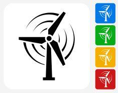 Wind Power Icon Flat Graphic Design vector art illustration