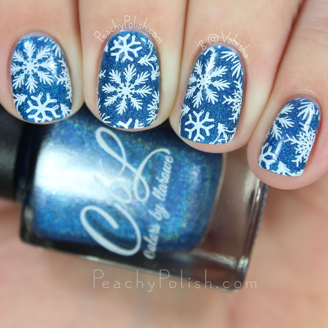 Snowflake nail art of CbL\'s December 2015 Polish Of The Month - Blue ...