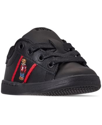 aabc18c87c5 Polo Ralph Lauren Toddler Boys' Quilton Bear Casual Sneakers from Finish  Line - BLACK LEATHER/RED STRIPIN 6