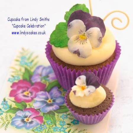 Spring viola cupcakes