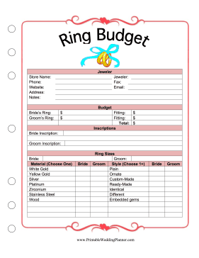 This Printable Ring Budget Planner Helps A Bride And Groom Plan